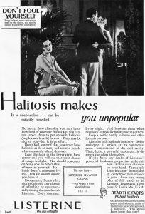 Listerine Halitosis ad from 1928